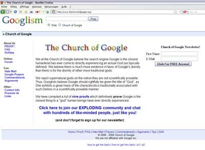 L'Eglise de Google - le site