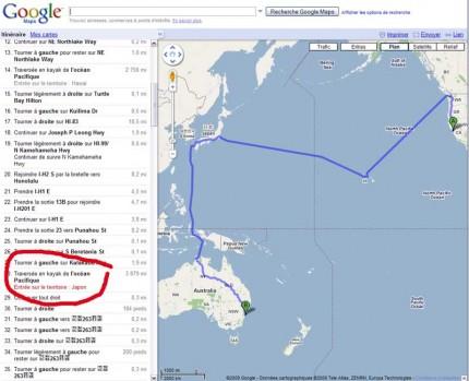 Google Maps vous propose le kayak