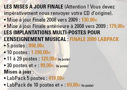 Les tarifs de Finale en français