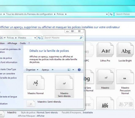 Dossier des polices windows7
