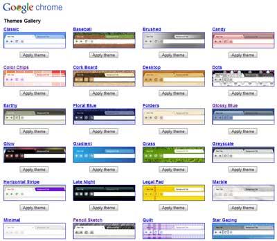 Les thèmes de Chrome