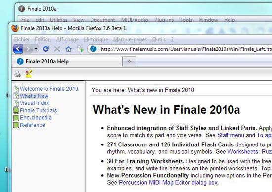 Finale 2010a Firefox