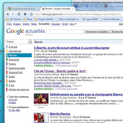 Les actualités de Biarritz avec Google news