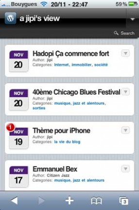 WPtouch page d'accueil jipiblog