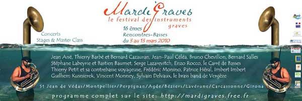 Mardi Graves, festival des instruments graves, contrebasse, clarinette basse, saxophone basse