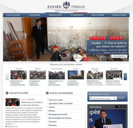 Le nouveau site de la présidence de la république Elyséé.fr