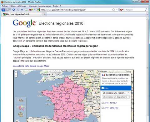 Résultat des élections régionales 2010 avec Google