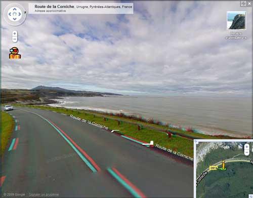 La corniche d'Hendaye avec Google Street view en 3D