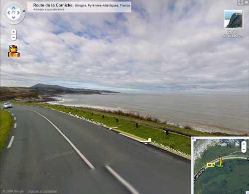 La corniche d'Hendaye avec Google Street view