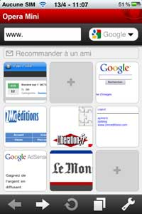 opera mini iphone page d'accueil