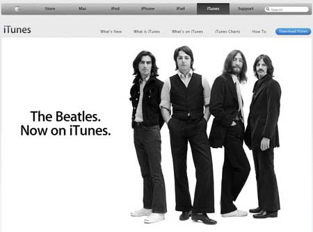 Catalogue des Beatles en vente sur iTunes