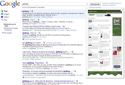 Le jipiblog avec la nouvelle fonction de recherche Google Instant preview