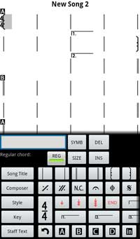 iRealb Android édition d'une nouvelle grille
