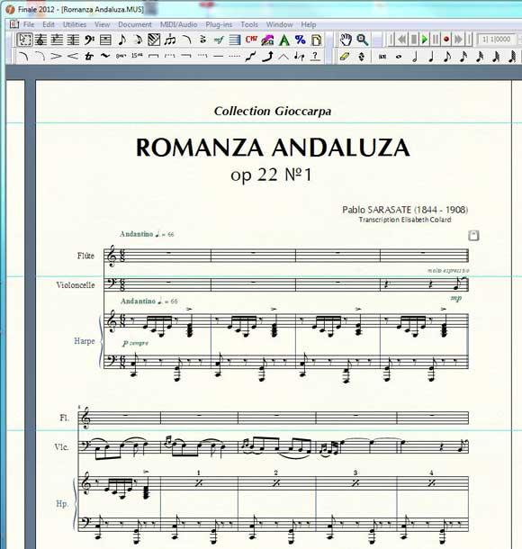 Romanza andaluza de Pablo Sarasate mis en page avec Finale