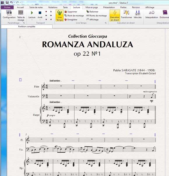 Romanza andaluza de Pablo Sarasate mis en page avec Sibelius