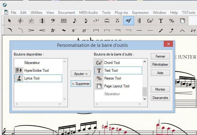 Finale 2014d personnalisation des barres d'outils