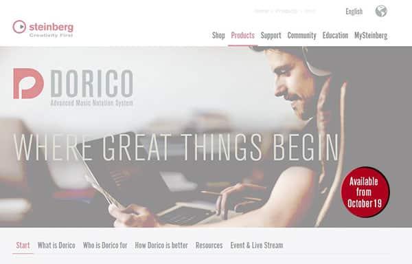 Le site de Dorico sur Steinberg. La page n'existe pas encore en français