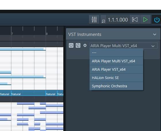Le module de sons Aria player dans Dorico