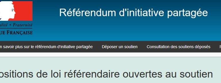Signer le RIP Référendum d'Initiative Partagée