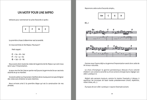 L'improvisation en question Volume 1 Exemple de pages